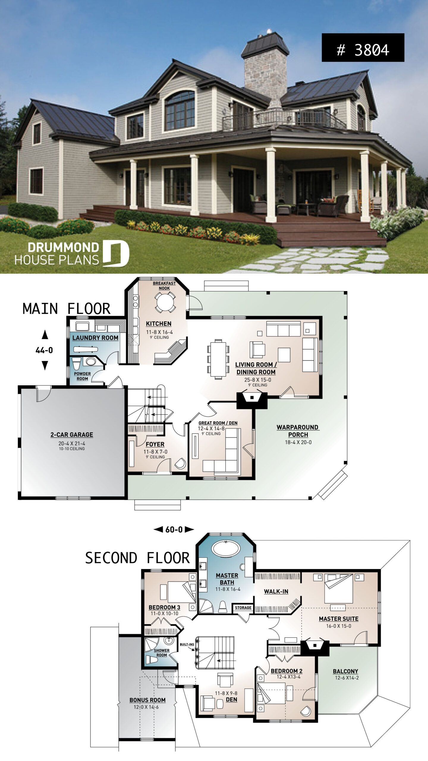 House Plans With Garage And Wrap Around Porch Cottage House Plans Beach House Plans House Layout Plans