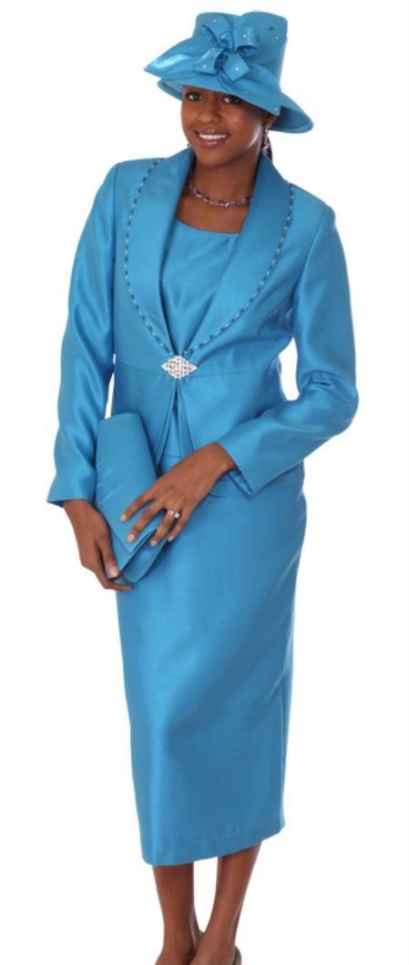 Sku Wo 124 Women 3 Piece Dress Set Turquoise Light Blue Colored