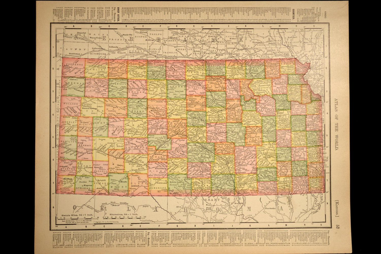 Kansas Map Antique Early 1900s State Original 1907   Haritalar ve ...