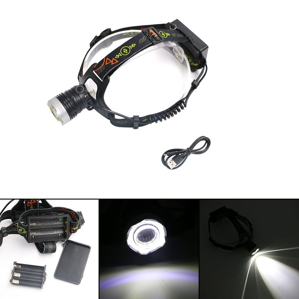 Mini Cob Led Headlight Usb Cable Xml Zoomable Rotate Focus