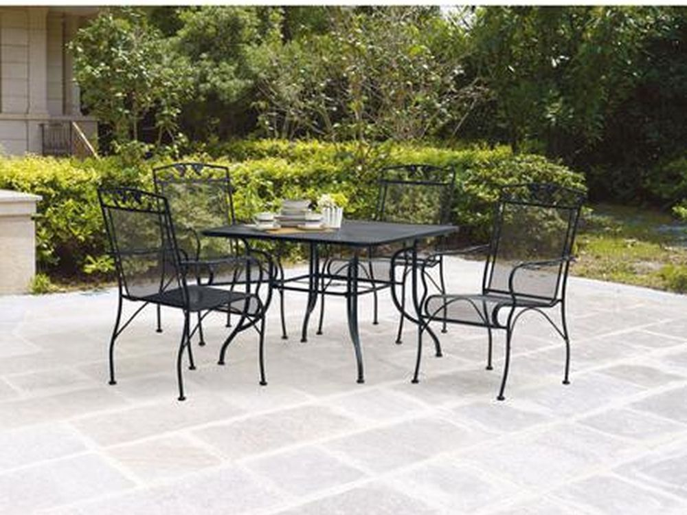 Black Wrought Iron Patio Dining Set 5 Piece Mesh Table Chairs
