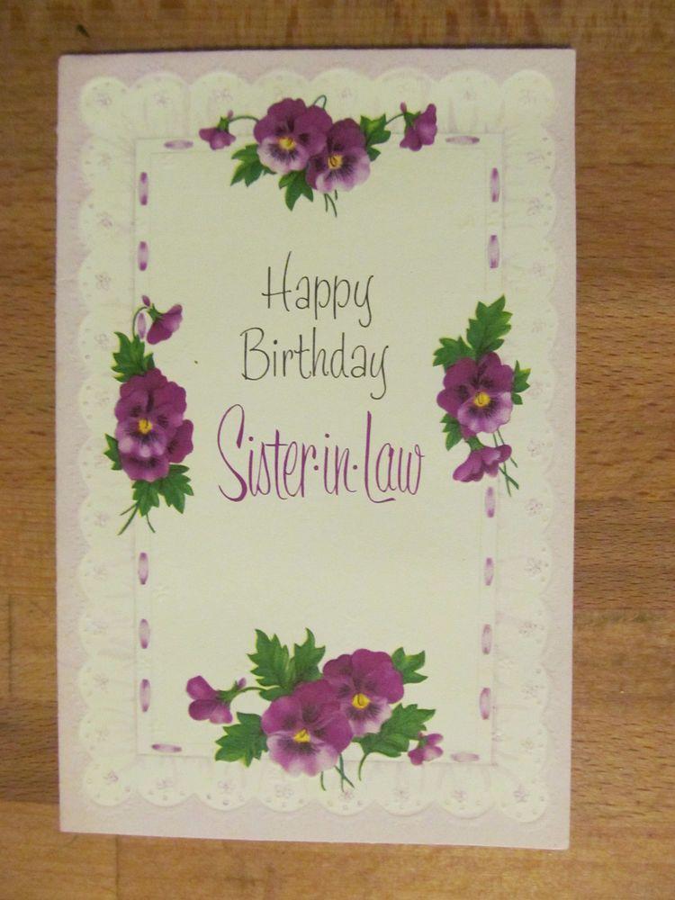 Vintage American Greeting Birthday Card Violets Sister In Law