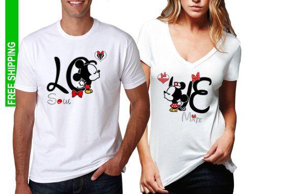122b44f937 2 FOR 1 SALE: Valentine's Matching Couple T-shirts Mr. Mrs. Soul Mate LOVE, Disney  Mickey Minnie Ears Love Cute ,Crewneck Vneck Sizes S-6X