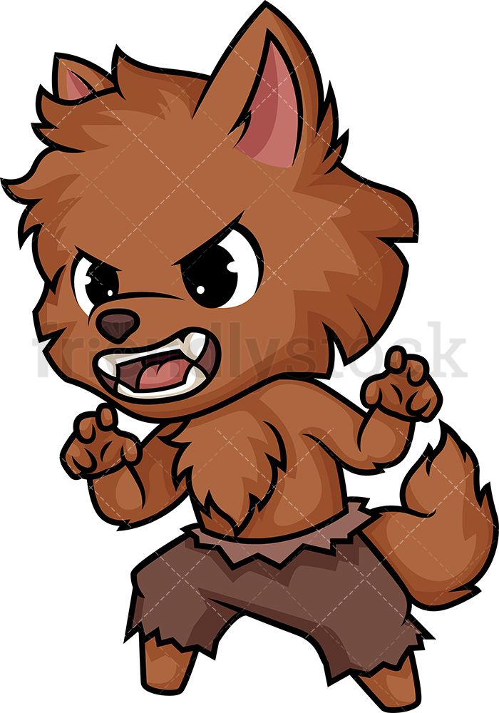 Chibi Kawaii Werewolf Clipart Cartoon Vector Friendlystock Cute Sketches Cute Animal Drawings Cartoon Clip Art