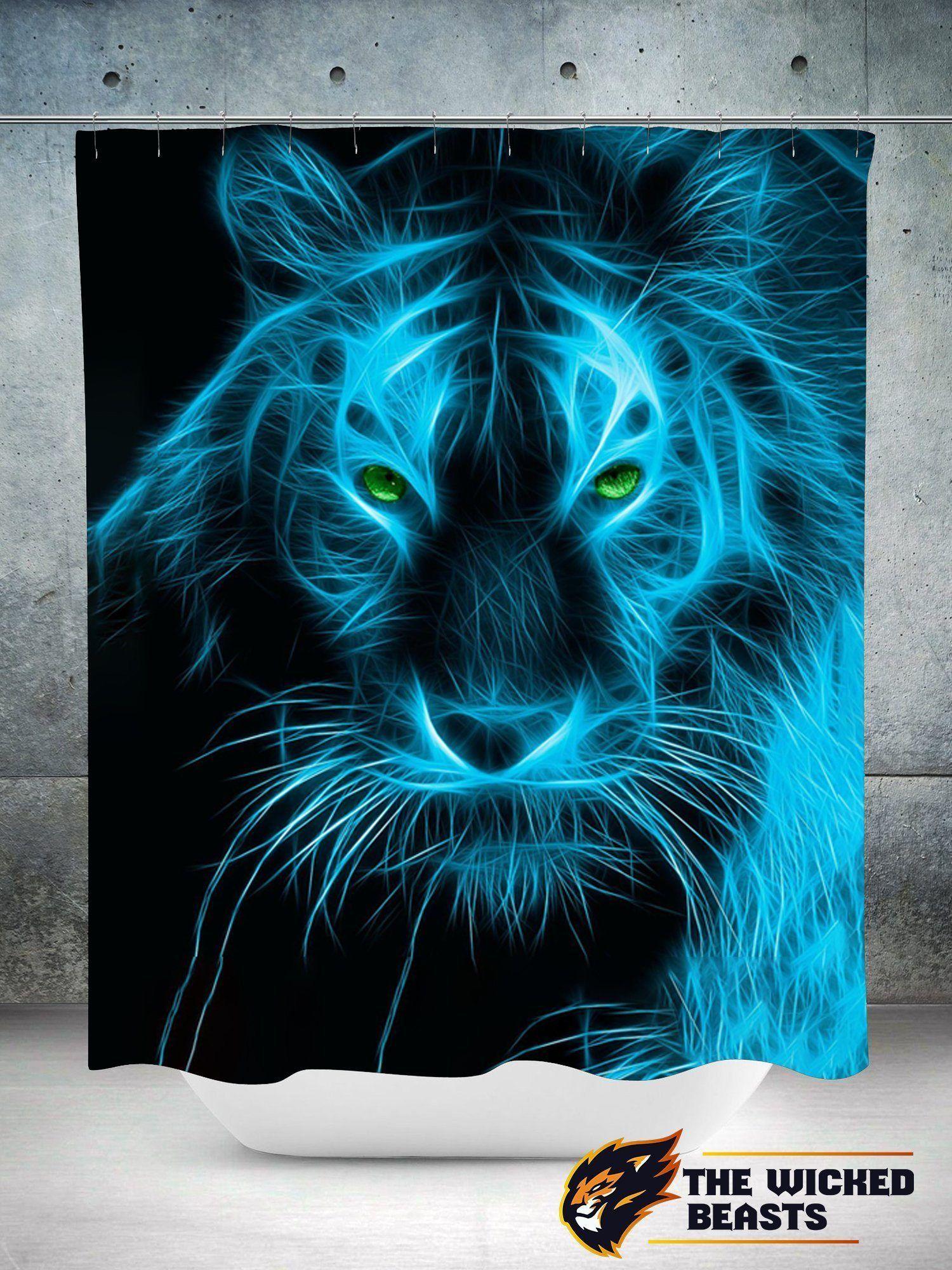 Blue Tiger Shower Curtain Tiger Pictures Tiger Art Lion Art