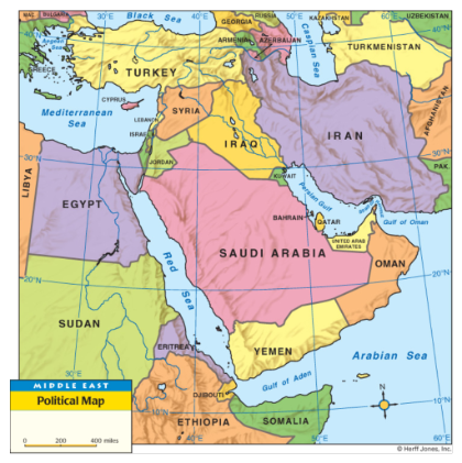 Middle East Political Map SELECTION OF EXCHANGESMARTTECHcom