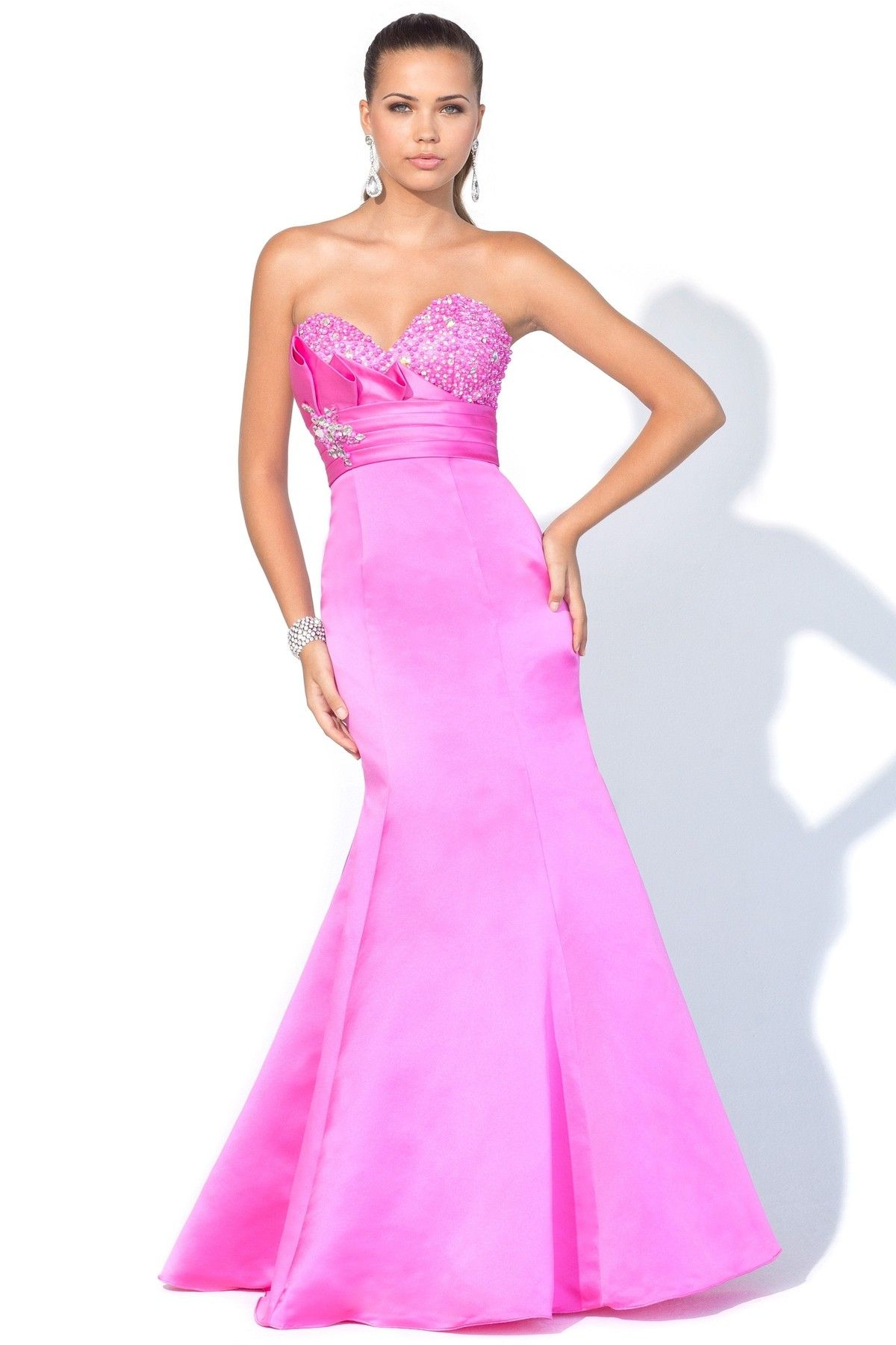 Satin modified sweetheart neckline floorlength prom dress prom