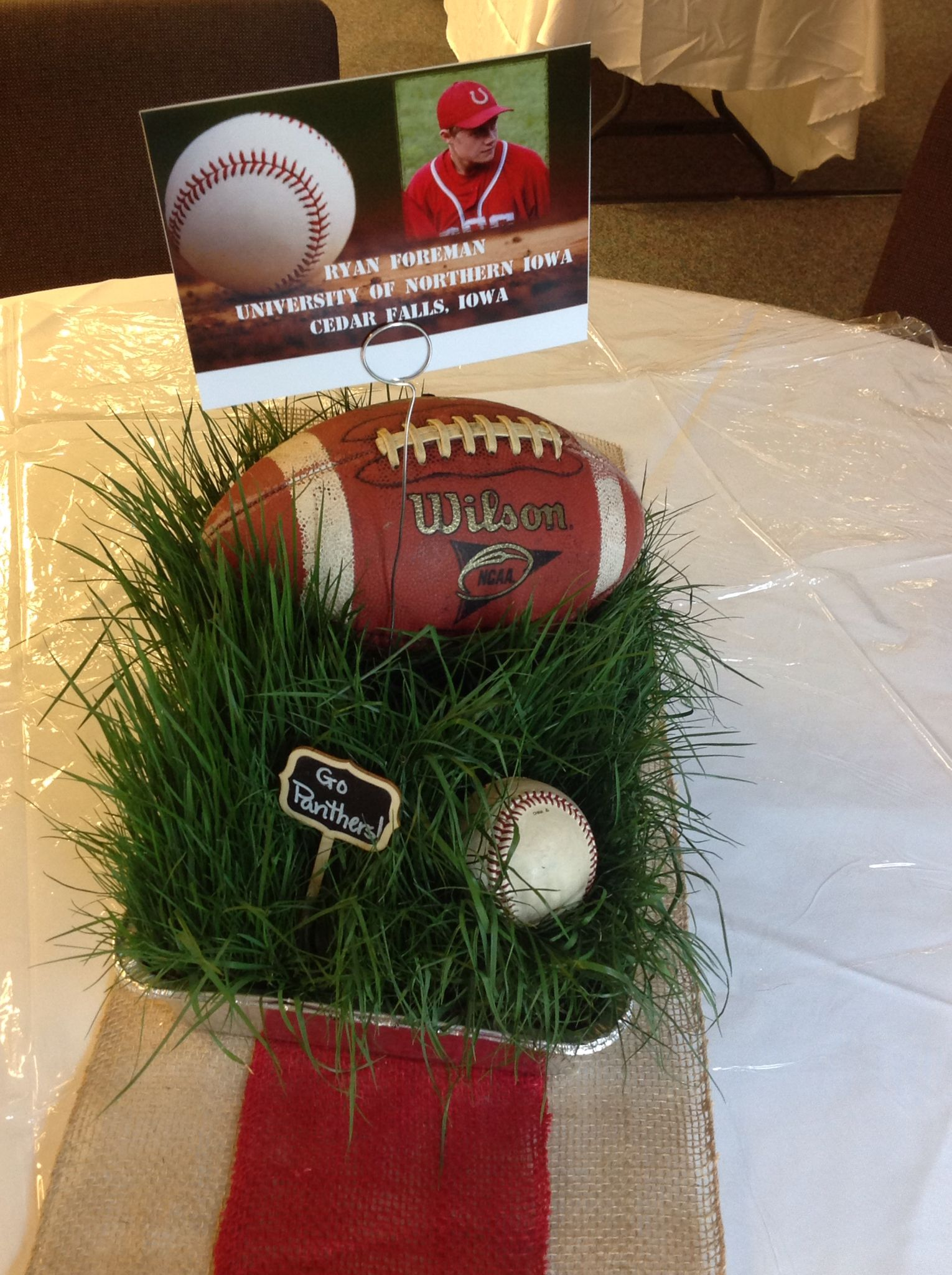 Centerpieces with real grass for footballbaseball theme centerpieces with real grass for footballbaseball theme junglespirit Choice Image