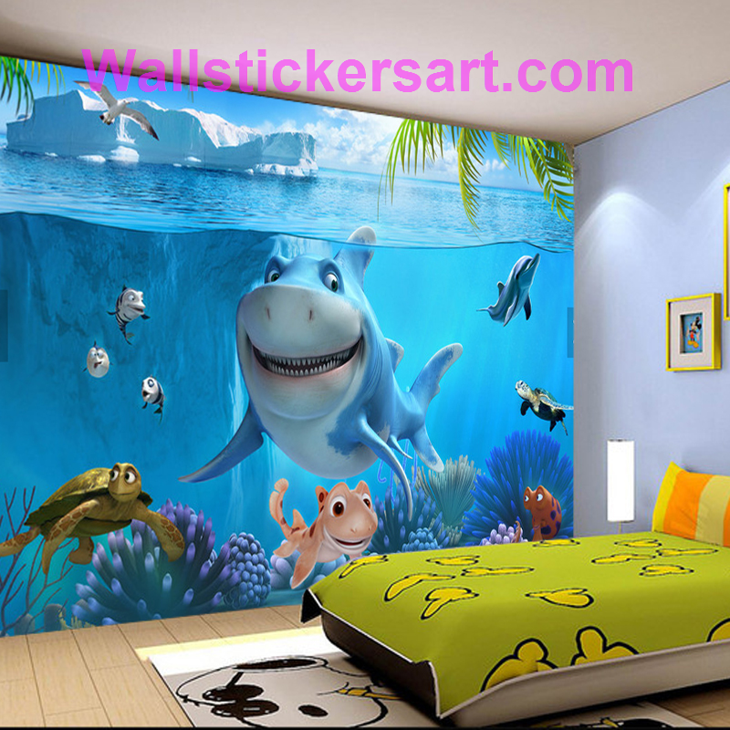 3d Sea World Mural Wallpaper For Kids Room Free Shipping Wall Stickers Art Kids Room Wallpaper Mural Wallpaper 3d Wallpaper Mural