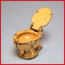 "Miniature Kilgore Cast Iron Toilet – Yellow 1920s – 1930s 3/4"" Scale"