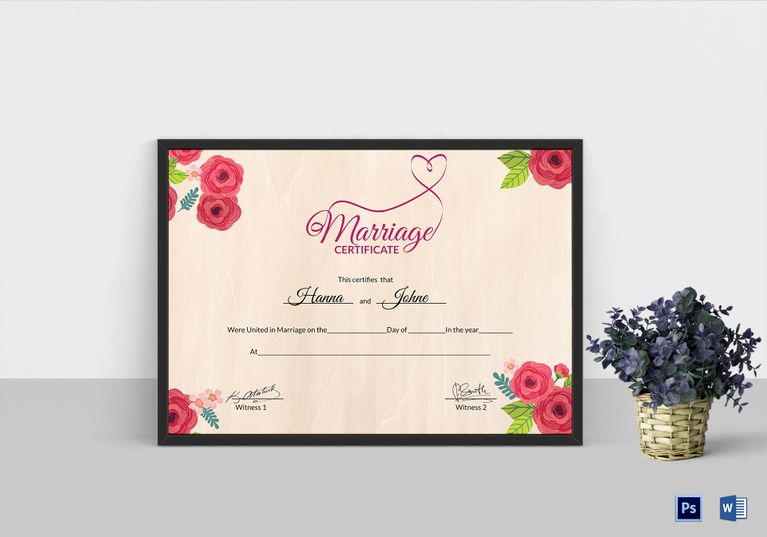Floral marriage certificate template 999 formats included ms floral marriage certificate template 999 formats included ms word photoshop file size 1169 yadclub Image collections