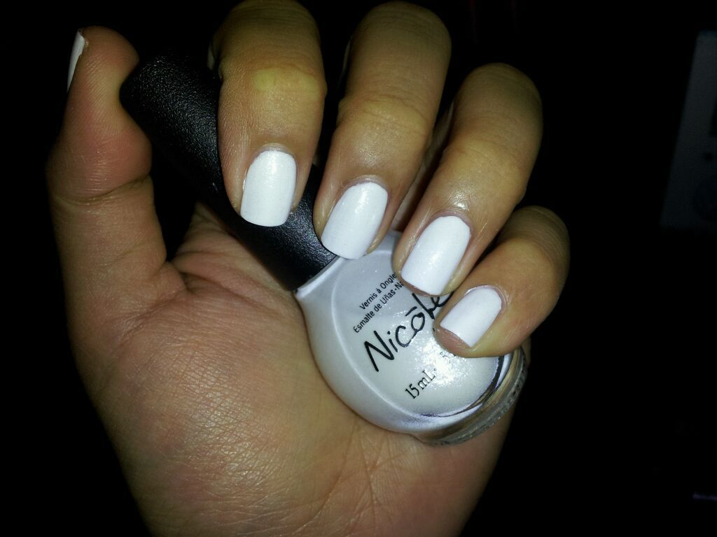Essie Blanc topped w/ Nicole by OPI It\'s All About the Glam from the ...
