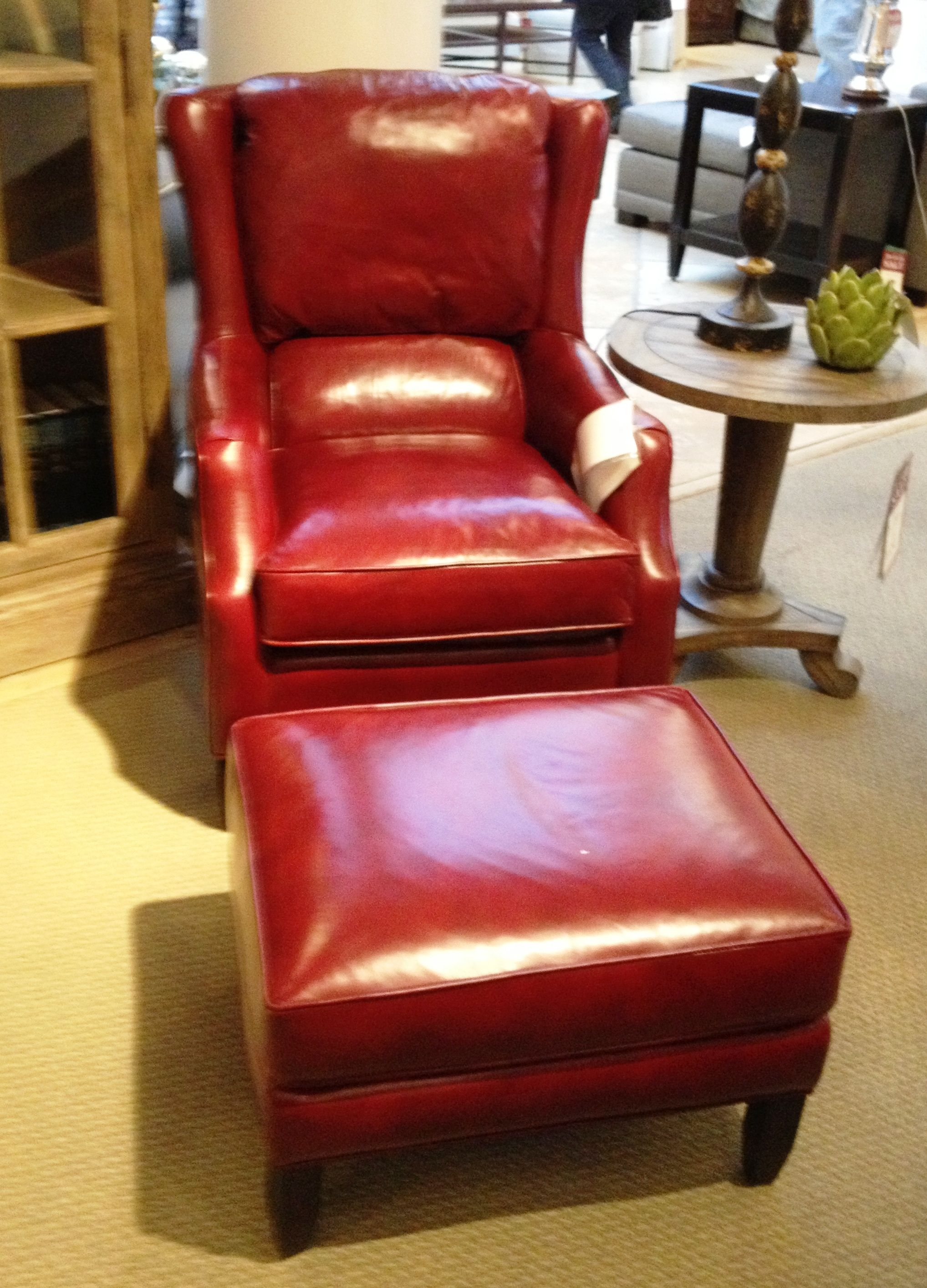 King Hickory red leather chair & ottoman Just bought this