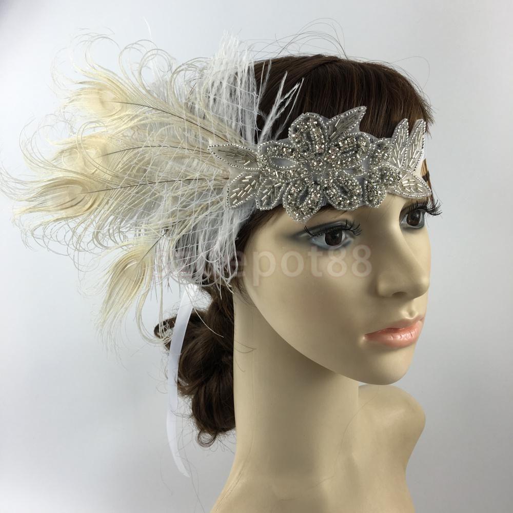 1920s Flapper Headband  Feather Luxury Great Gatsby Headdress  Fancy Dress