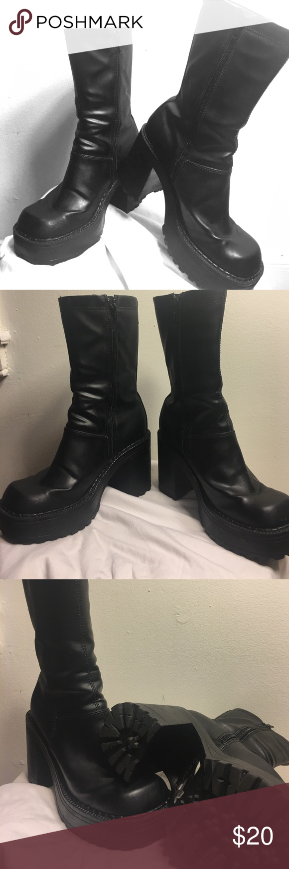"""Dollhouse chunky heel Grunge style  Boots Size 8 leather like (alll man made materials) black chunky heel Dollhouse boots.  Zipper on the side. Built up front and heel raises you @ 4"""".  Great Street style boots. Dollhouse Shoes Combat & Moto Boots"""