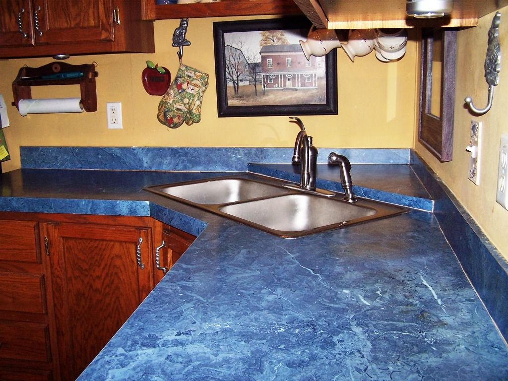 Blue Countertop Kitchen Ideas Part - 15: Modern Kitchen Interior Design With Blue Countertop Materials Tile With  Small Washbasin And Cream Wall Paint Color Also Wooden Cabinet Also Cool  Accessories
