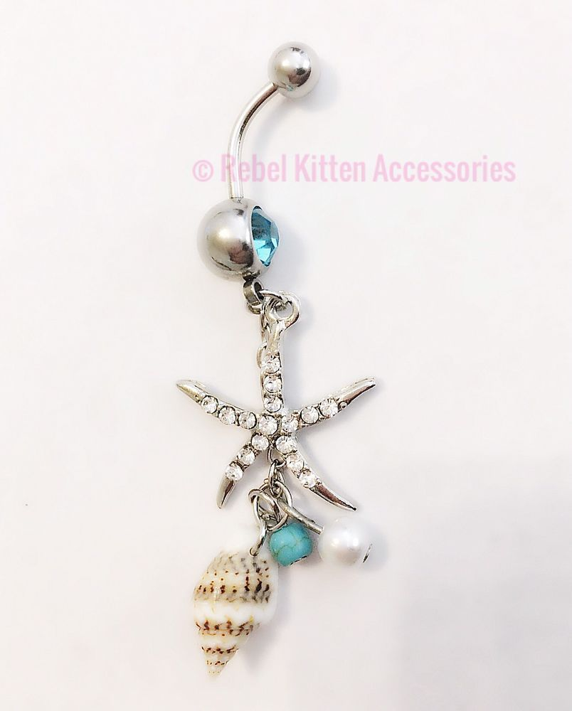 Long belly piercing  Sparkle Dangle Starfish Boho Belly Button Ring Piercing Body Jewelry