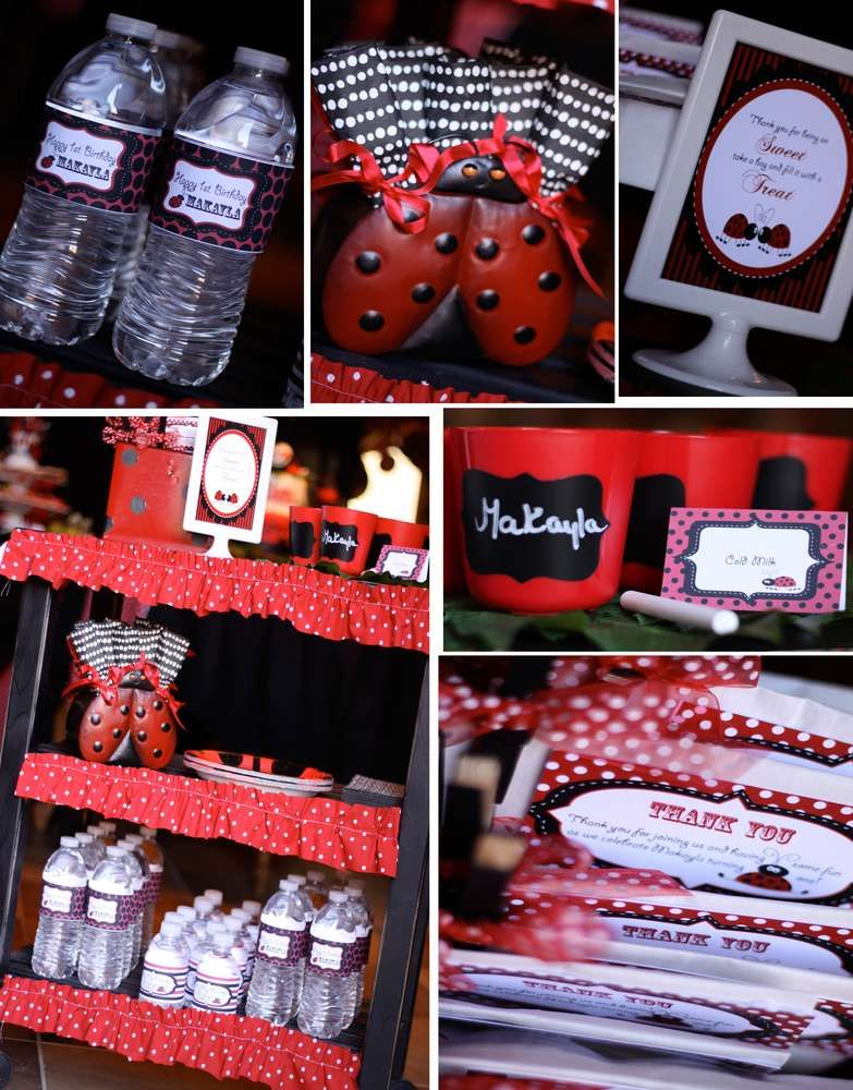 Our lil' baby is turning into a lil' lady- ladybug themed 1st birthday party | CatchMyParty.com
