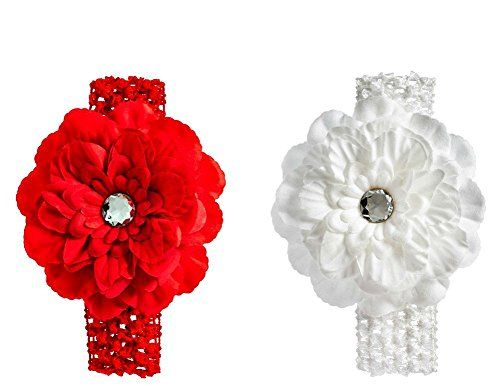 White And Red Soft Flower Headband Set Of 2 -- Visit the image link more details.