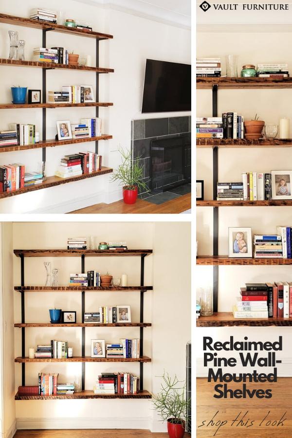 Wall Mount Shelving 5 Shelf Unit In 2020 Wall Mounted Shelves Modern Shelf Design Wood Shelving Units