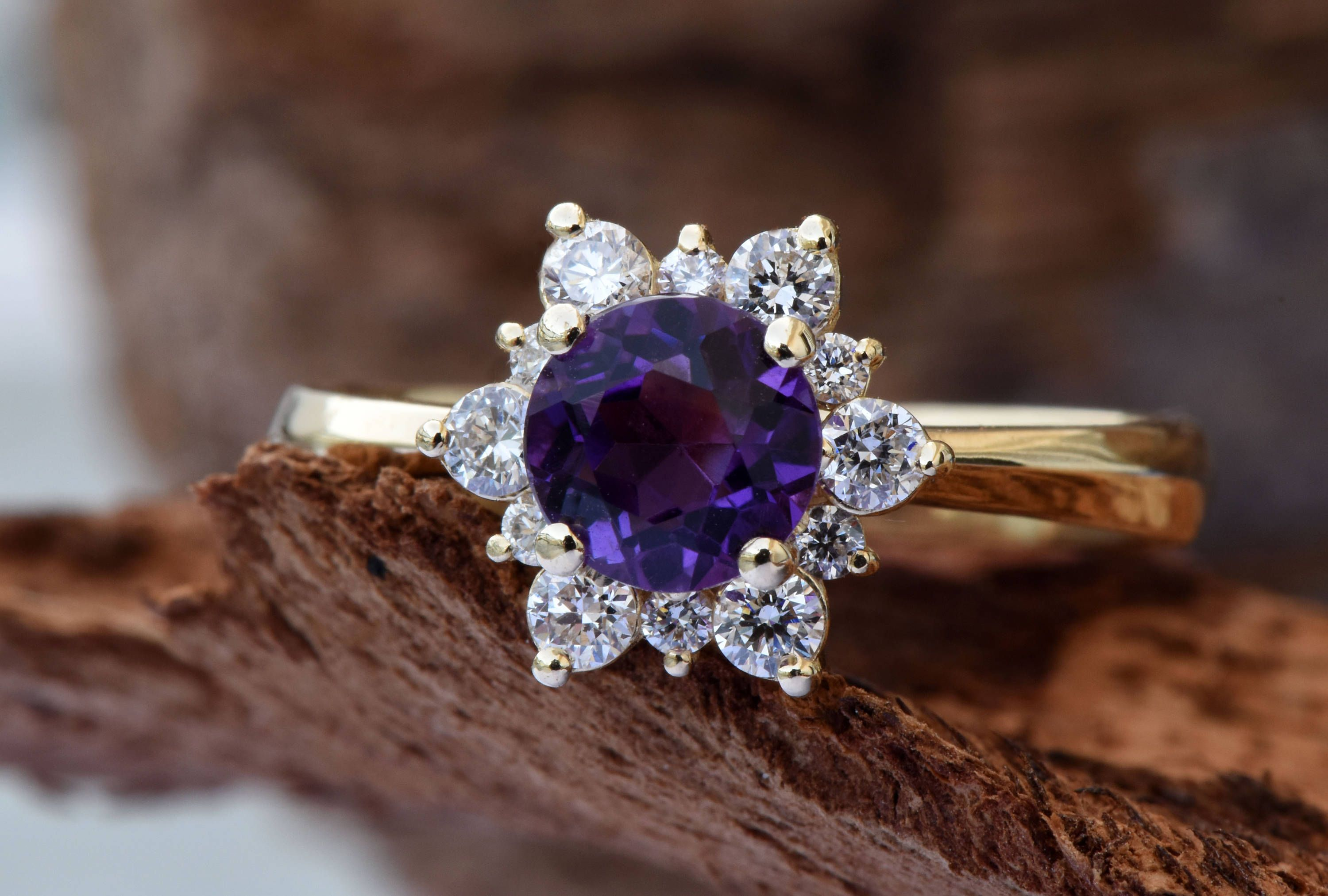 amethyst cluster white venice ring img gold winsor amethist diamond rings engagement and