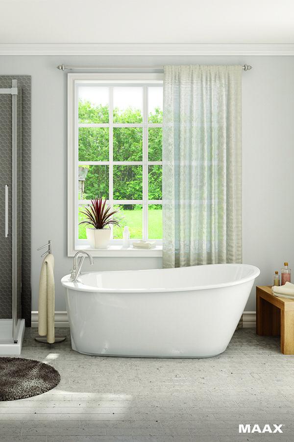 With the MAAX® Sax Freestanding Fiberglass Bathtub, you can design ...