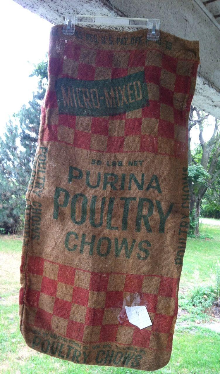 Vintage Purina Burlap Feed Sacks Feed Sacks Burlap