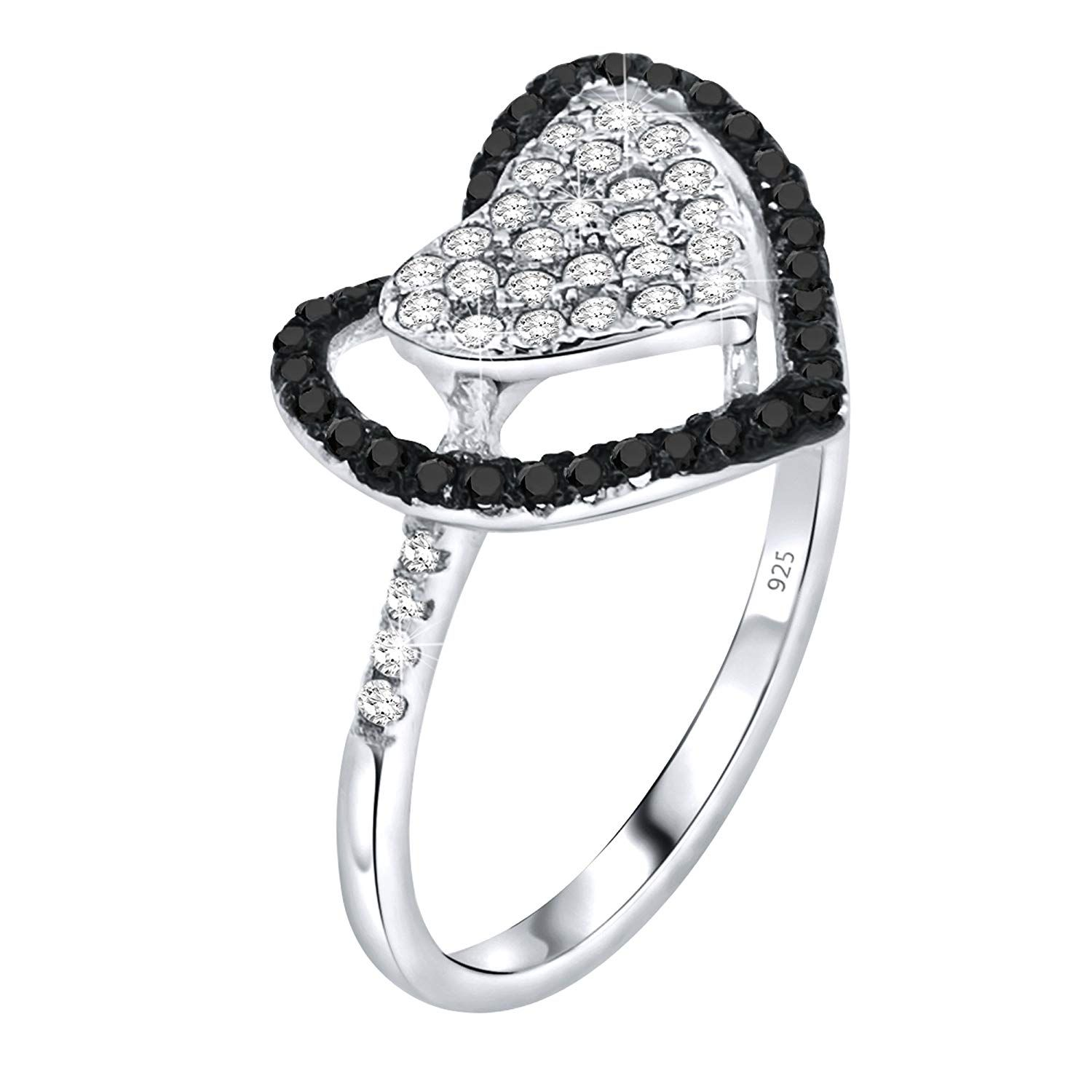 Platinum Plated 925 Sterling Silver Ring w// Natural 10.0 mm Heart Sapphire