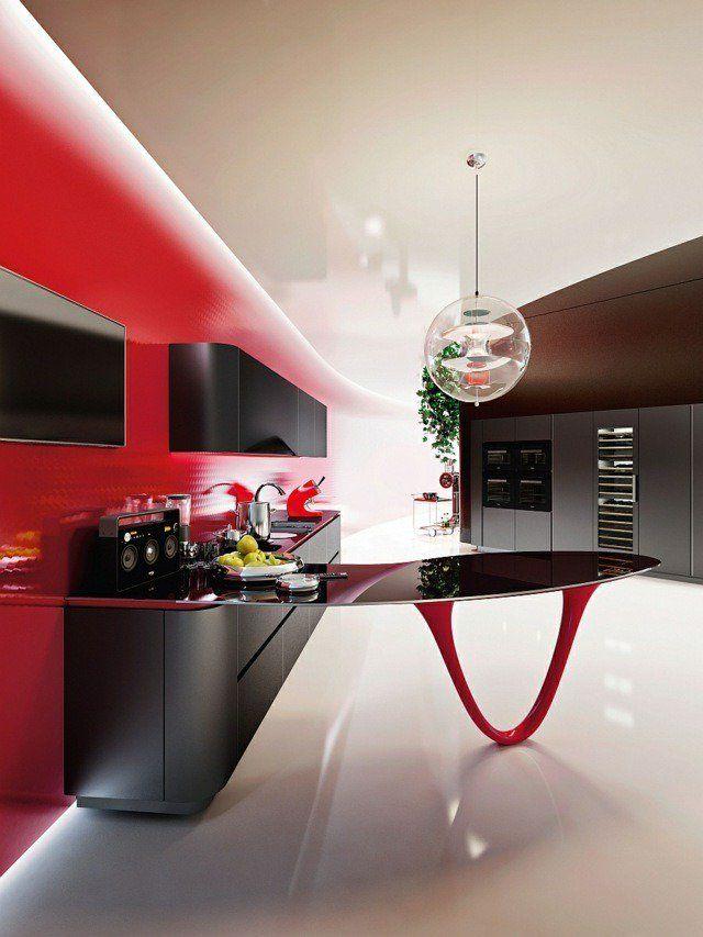 îlot De Cuisine Semi-central Design Noir Rouge Luminaire