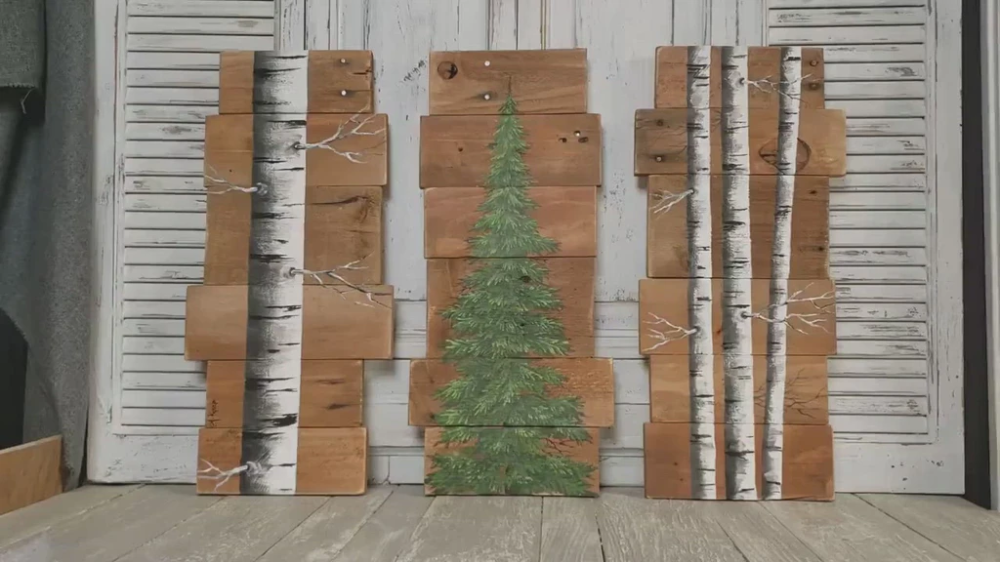 Photo of Hand painted white birch 3 Piece set on pallet wood, evergreen pine tree and aspen trees, couch art