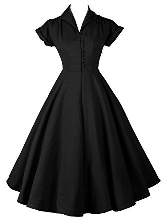 ILover 50s Retro vintage Rockabilly kleid Hepburn Stil shirt ...