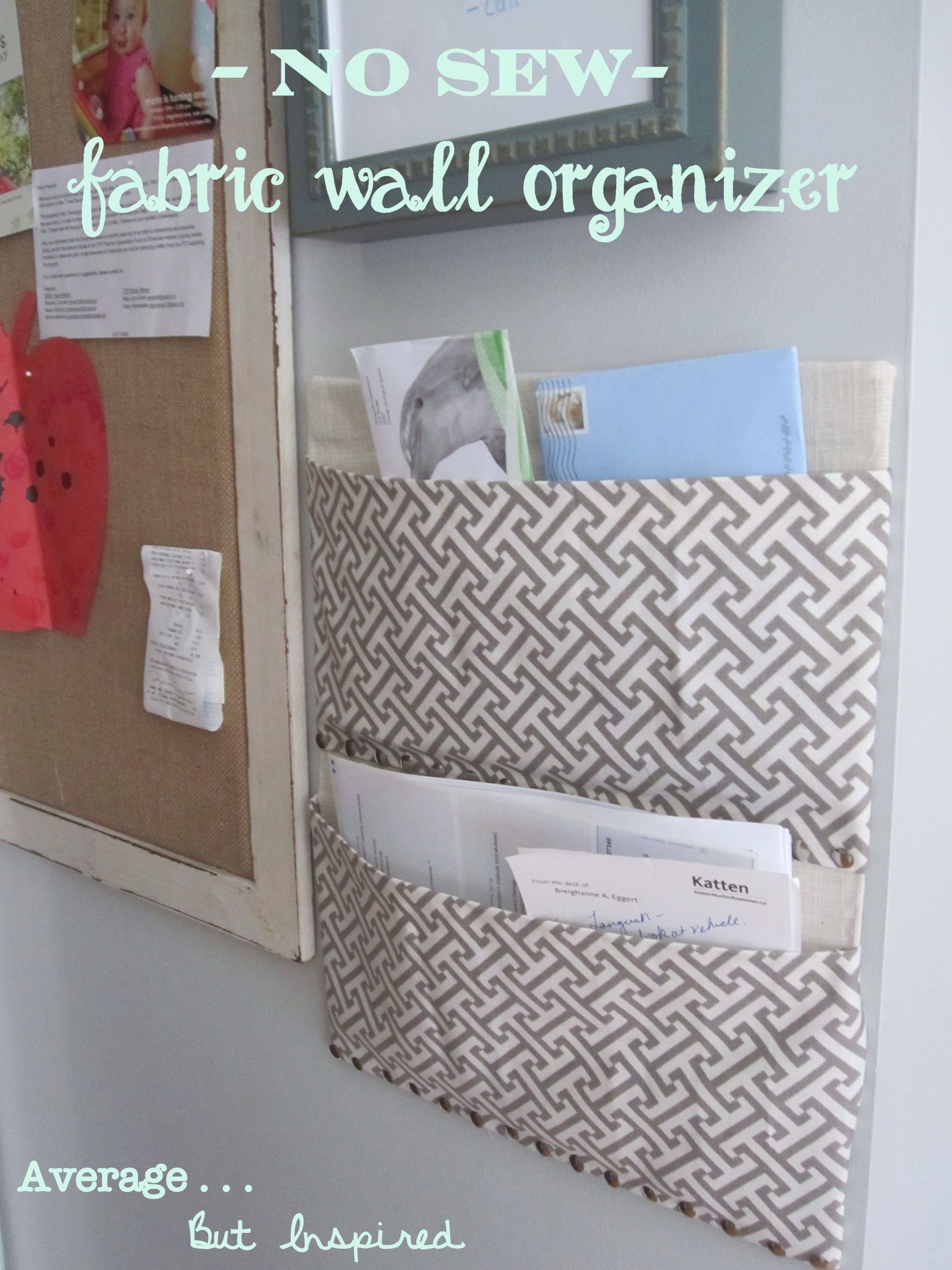 easy no sew fabric wall organizer made with a diaper box