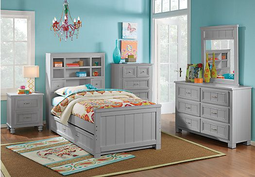 Cottage Colors Gray 5 Pc Full Bookcase Bedroom | Teen bedroom sets ...