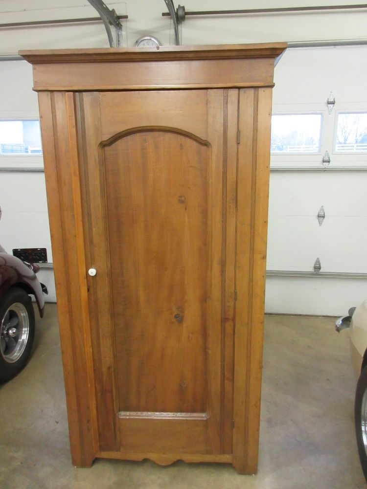 Antique Rustic Pine Single Door Armoire Wardrobe Storage Closet Decor