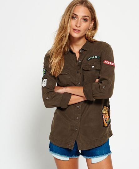 Vine Womens Shirt In KhakiSuperdry Patched Military CeWxdBor