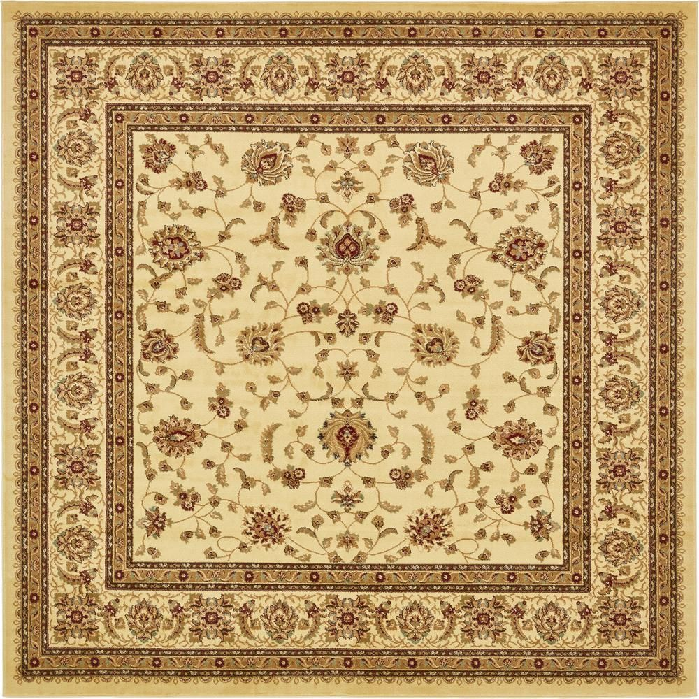 Unique Loom Voyage St Louis Ivory 10 0 X 10 0 Square Rug 3132939 Floral Area Rugs Area Rugs Beige Area Rugs