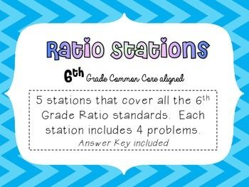 6th grade math ratio stations common core middle school math 5 stations that cover all of the 6th grade math common core standards answer key included fandeluxe Images