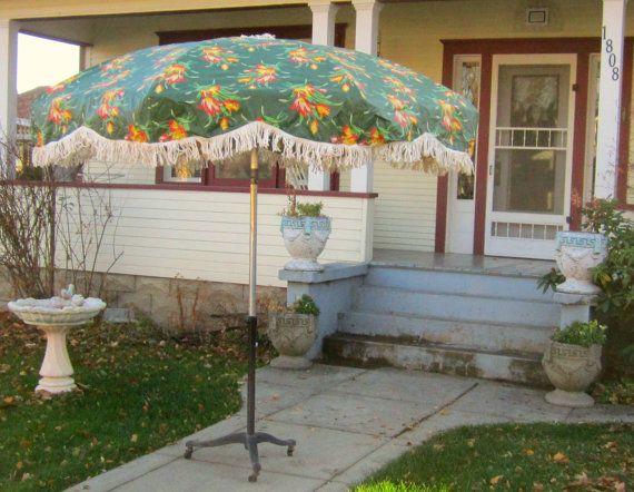Vintage Umbrella For Patio Table Heavy Vinyl Oil Cloth Fringe Huge