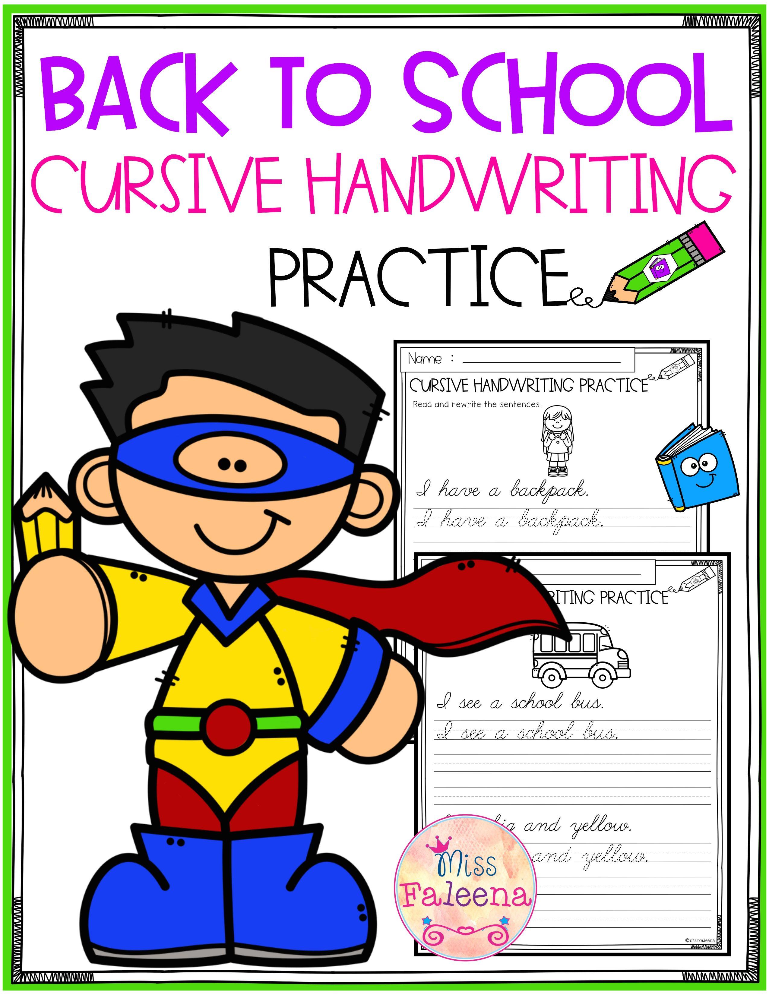 Back To School Cursive Handwriting Practice