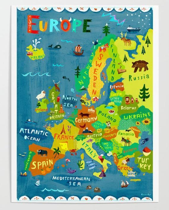 Europe map illustration digital print poster kids room wall art decor travel children - Tirage en coupe 52 cartes ...