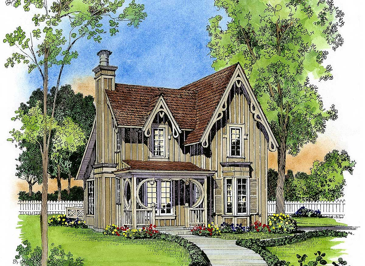 Plan 43044pf Gothic Revival Gem Victorian House Plans Gothic House Cottage House Plans