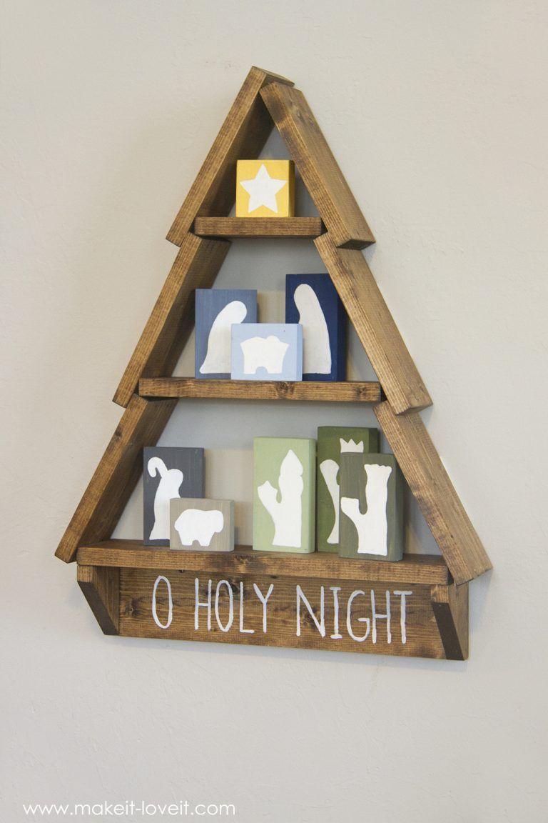 DIY Holiday Tree Shelf…with Nativity Blocks!