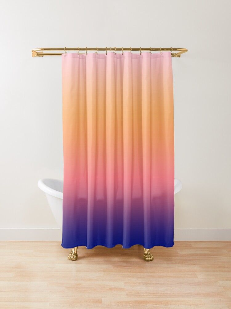 Malibu Sunsets Minimalist Rainbow Pastel Gradient Ombre Shower Curtain By Grdnt In 2020 Ombre Shower Curtain Pastel Gradient Pastel Rainbow