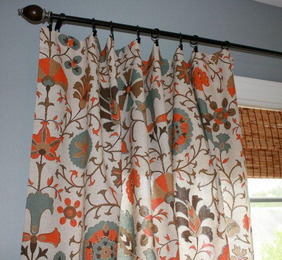 Suzani Designer Curtain Panel Oatmeal Turquoise Orange