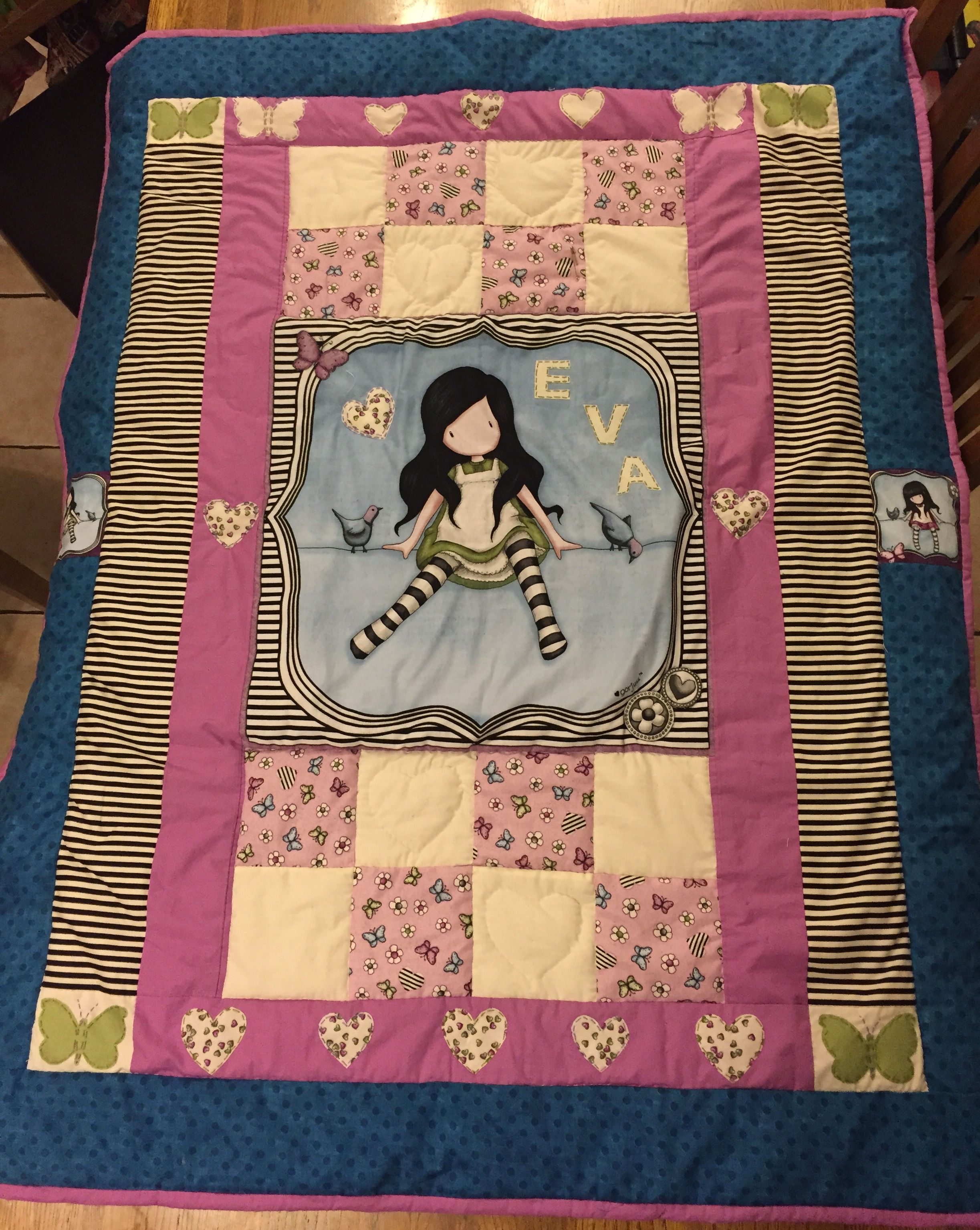 Gorjuss hand stitched patchwork quilt finished at last. Very happy with the results.