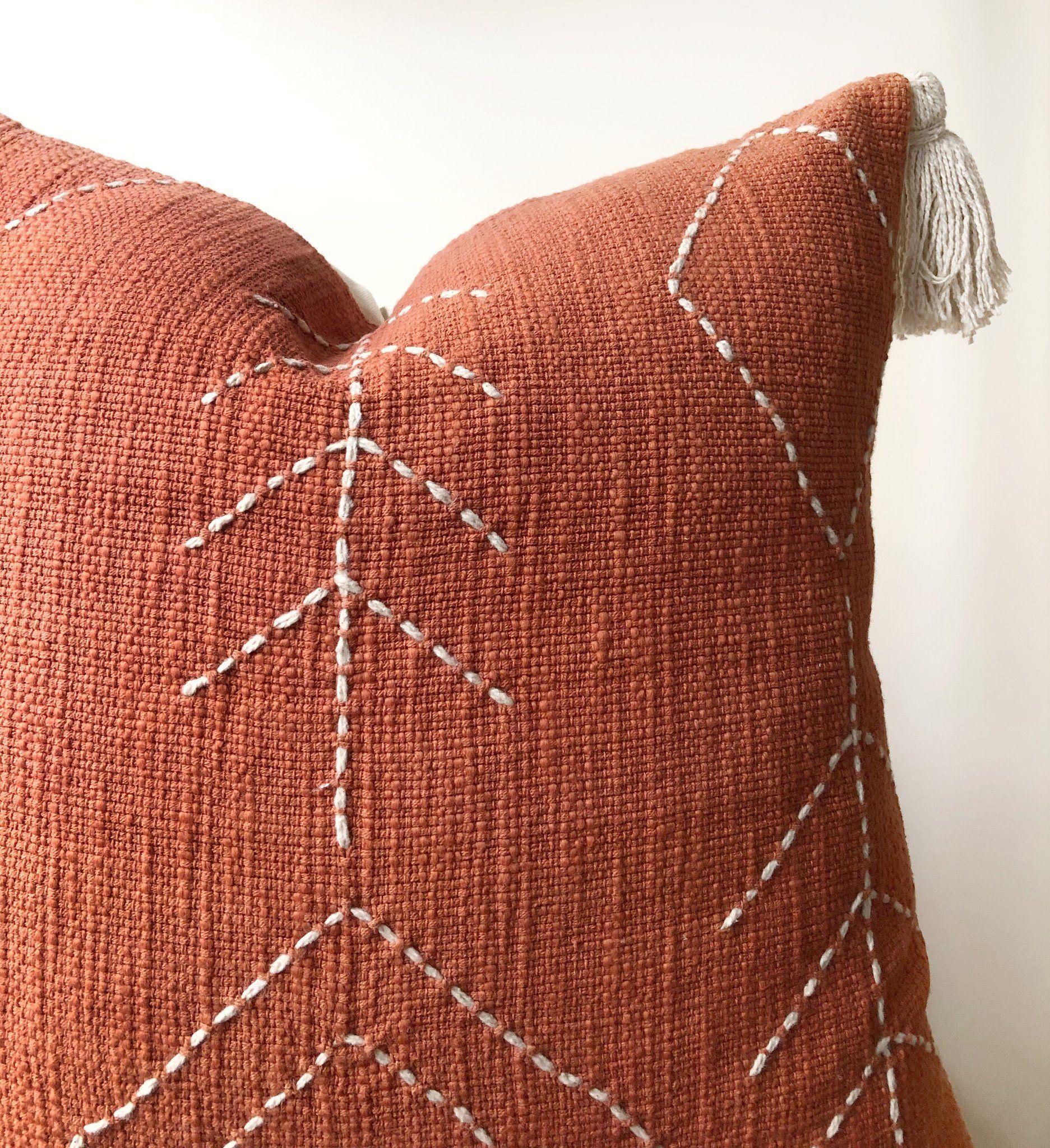 Aztec House | Burnt orange raw cotton cushions | Boho pillow Australia | burnt orange boho pillows