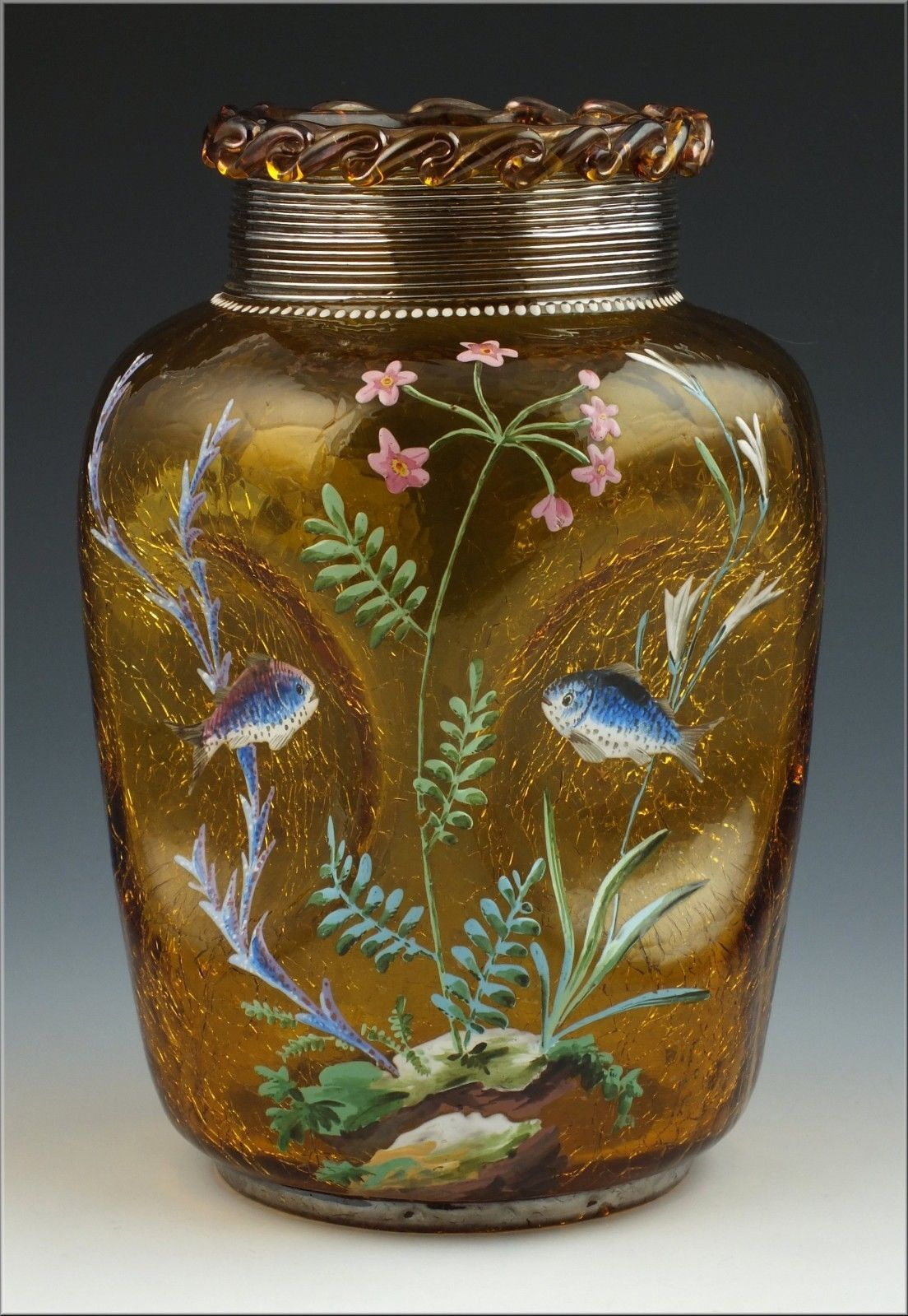 Fantastic 19th c moser crackle glass vase w fish crackle glass fantastic 19th c moser crackle glass vase w fish ebay reviewsmspy