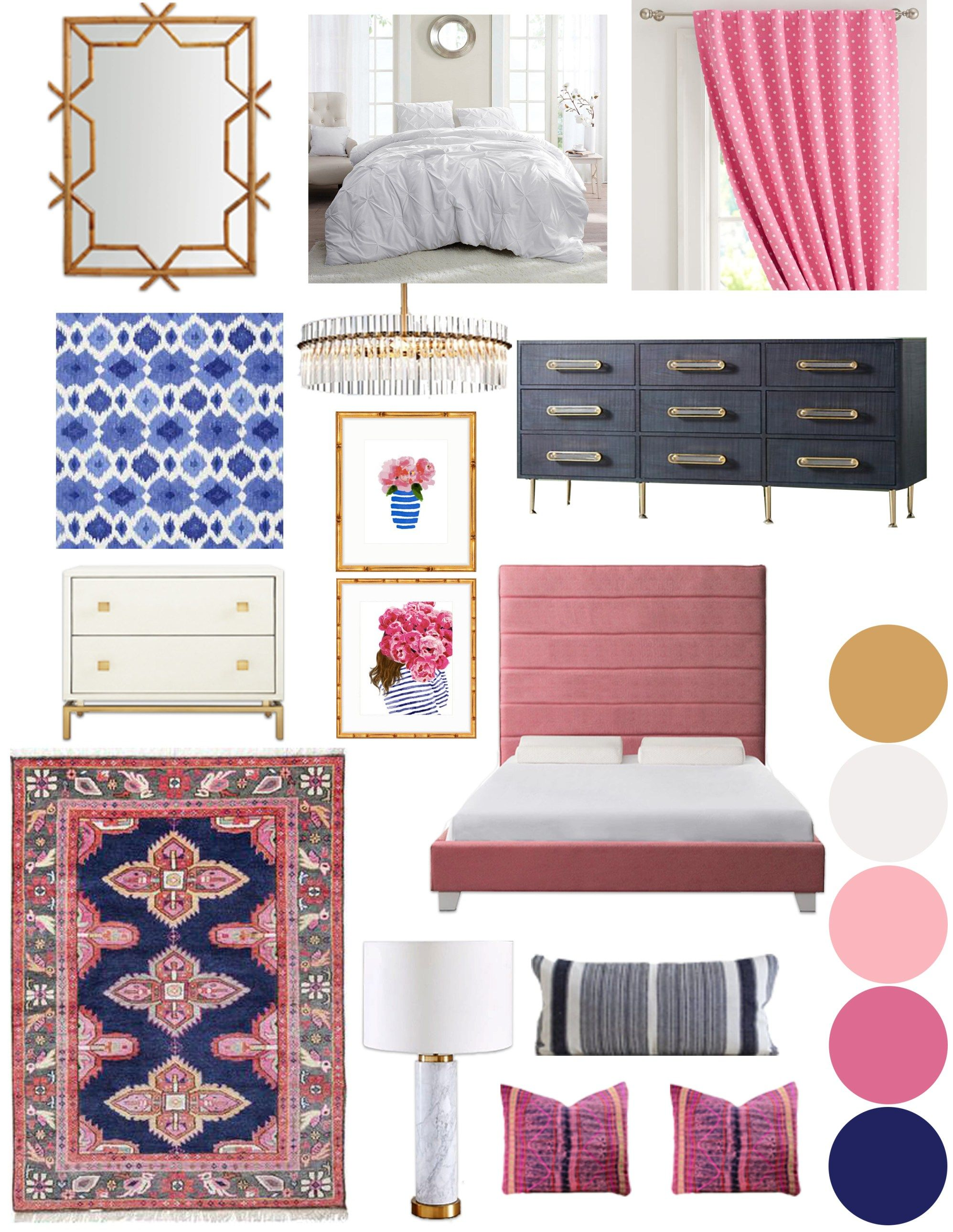 Preppy Boho Glam Bedroom eDesign images