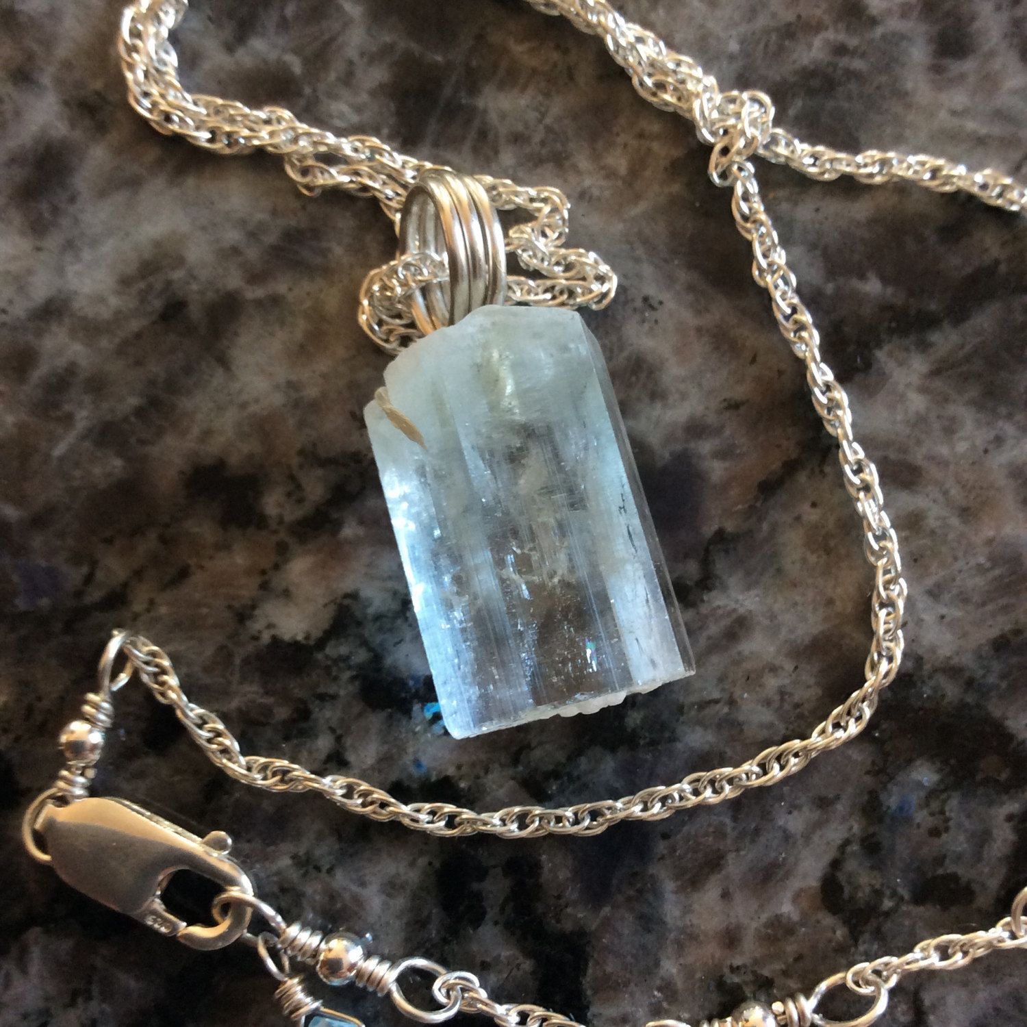 Raw Faceted Aquamarine Necklace 18 Inches