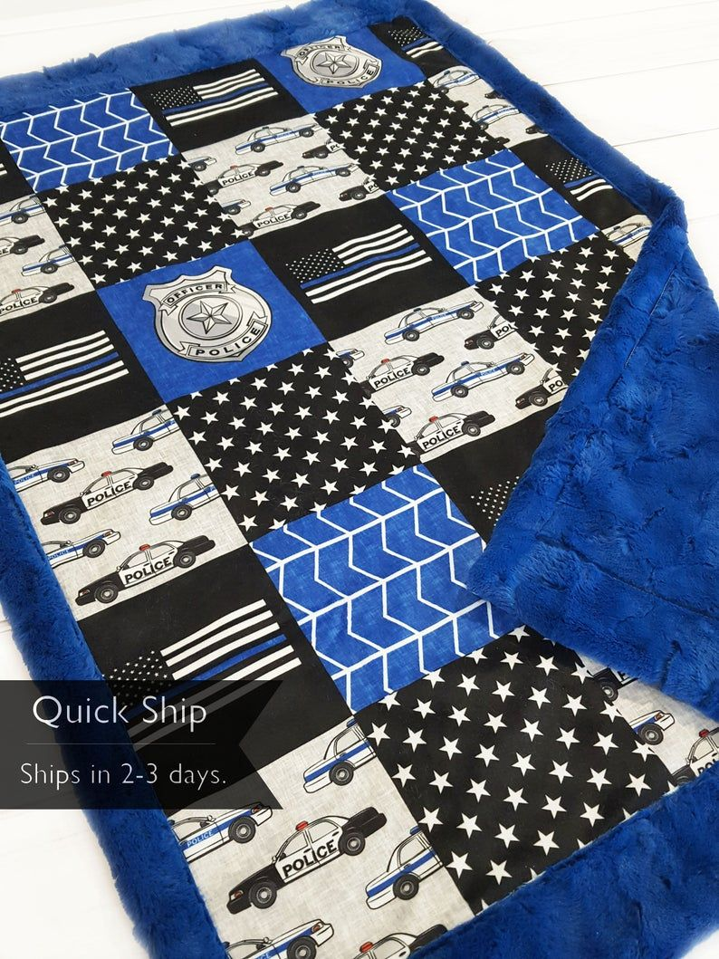 Thin Blue Line Police Minky Blanket Police Baby Bedding ...